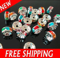 Chirstmas new Spacers 100pcs Acrylic Crystal Spacer Beads 8mm Rhinestone Spacers Findings Mixed