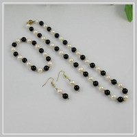 White aa fashion jewelry - fashion jewelry AA mixes color GP Black agate white pearl necklace bracelet earring jewelry set