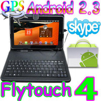 Wholesale Flytouch Android market quot tablet pc skype GPS WIFI Camera X220 with leather keyboard case