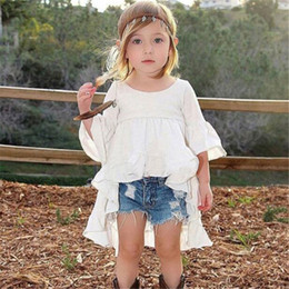 Wholesale DHL Baby Girls Dresses Ruffle Clothes Party New Ins Trends Children Clothing Baby White Fairy Skirt Cotton Dress Summer Fashion