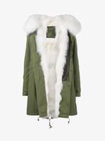 Mr Mme Italie Arctique Blanc Fox fourrure doublée Raccoon Fur hood Femmes Long Parka Green veste