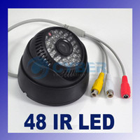 Wholesale 48 LED Color CCTV IR CMOS Dome Surveillance Audio Infrared Camera TV Lines NTSC Black