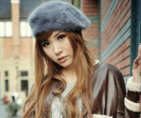 Wholesale 7 colors Winter Warm Berets Hat Colorful Beret hat Rabbit fur hat Autumn and winter Hat
