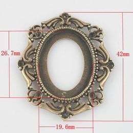 Wholesale Configuración del colgante de bronce antigua en blanco pendiente de cobre amarillo de los ajustes del camafeo de la vendimia orden de la mezcla