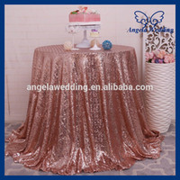 Wholesale CL006D inch round cheap rose gold sequin table cloth
