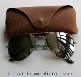 2017 espejo de cristal clásico Los vidrios solares clásicos de las gafas de sol del piloto del diseñador de las mujeres de los hombres 1Pcs Eyewear la lente de cristal 58mm 62m m del espejo del capítulo de la plata vienen con la caja y el caso espejo de cristal clásico Rebaja