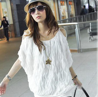 Wholesale Hot Womens Fashion Sexy Off Shoulder Raised Grain Blouse Tops White