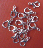 Cheap Free shipping 500 pcs lot 12mm plated silver tone metal Lobster Clasps, Jewelry Clasps Findings