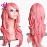 Cosplay pelucas color rosa de señoras largas pelucas de pelo rizado vestido de fiesta mascarada princesa Cosplay Show resistente al calor pelucas sintéticas