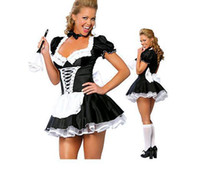 Wholesale Sexy Chambermaid Maid Costume Lycra V neck Dress Attach Apron Collar Wrist Cuffs and Crinoline