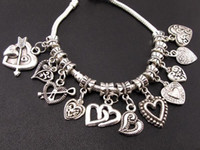 Wholesale besestllig Tibetan silver heart dangle charms pendant beads mixed styles