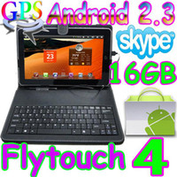 Wholesale Flytouch GB Android quot tablet pc GPS Camera X220 GHZ leather keyboard case