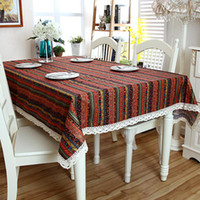 asian table linens - Southeast Asian Nation Wind Stripe Cotton Lace Cloth Bronzing Tablecloth Table Cloth for Livingroom Hotel Restaurant Conference