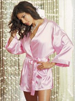 Wholesale Sexy Lingerie Light Pink Satin Kimono With Short Cut Beguiling Look and Wide Flowing Half length Sleeves Robe and Gown with Satin Belt Thong