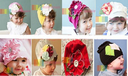 Many New styles Top baby Cotton Beanie beanies with Cute Flowers Toddler's Hats Girls' Boy's Hat Caps,kids elastic stripe beanies
