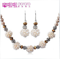 Wholesale 2014 Fashion Bridal pearl jewelry Bridal necklace earrings Birthday gift bride adorn article