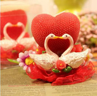 Wholesale Swan couple heart red Candle Wedding Favors Birthday Christmas Party Craft candles home deco