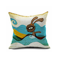linen animate pillowcase - Animated cartoon bird rabbit wild boar digital printing pillowcase Claborate style painting art Cushion for leaning on of hold hold pillow p