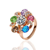 Wholesale Network hot K rose gold ring Ferris wheel color green material fine crystal cut Piece