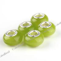 OPAL  Stone  100 Green Cat Eye's Opal Stone Charms Bead Carved 925 European Beads Fit Bracelets Free EMS 151651