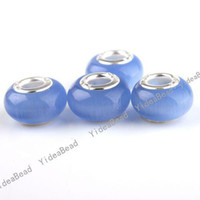 Wholesale 100Blue Cat Eye s Opal Stone Charms Bead Carved European Beads Fit Bracelets FREE EMS