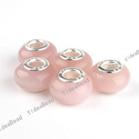 Wholesale 40 Hot Pink Cat Eye s Opal Stone Charms Bead Carved European Beads Fit Bracelets mm