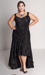 Wholesale Plus Size Custom Made Black Lace Asymmetrical Broad Strap Sequins Fashionable Bodice Evening Dress