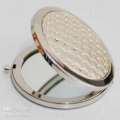 Pictures of silver rhinestone compact mirror makeup pocket for Cheap silver mirrors
