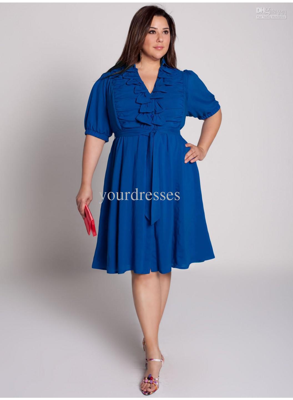 Как сшить синее платье на полных