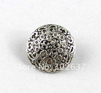 120PCS Tibetan silver flower round button beads A15354