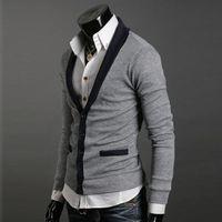 Women cashmere sweater - 1576 New Men s Premium V lapel Stylish Slim Button Mixed colors Sweater Size M L XL