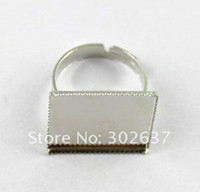 Band Rings adjustable ring blank - 120PCS Adjustable Ring Base Blank Glue on mm SQUARE