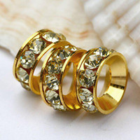 Wholesale 100pcs mm Jonquil Rhinestone Crystal Spacers European Big Hole Beads For Charms Bracelet Chain Jewelry Findings