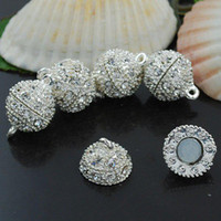 Wholesale MM Crystal Magnetic Round Ball Silver Plated Clasps Jewelry Findings