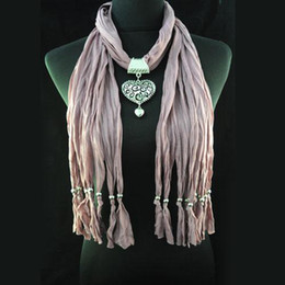 Cheap Scarf hot selling - dull red heart-shape pendant polyester necklace scarf pashmina , NL-1495I
