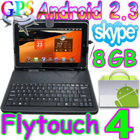 Wholesale 2pcs Flytouch GB Android quot tablet pc GPS amp leather keyboard case christmas