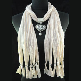 Costume jewelry Scarves - Beige pendant neck scarf, costume jewelry polyester necklace scarves & wraps for women accessories , NL-1495H