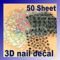 Wholesale Nail Art Sticker x3D Design Tip Nail Art Sticker Decal Manicure Flower Mix Color Flower