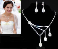 Wholesale Bridal Jewelry Necklaces earrings Diamond set chain new Wedding Accessories