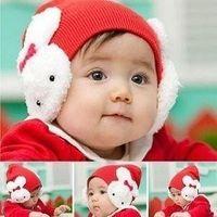 Winter baby headgear protection - Pieces Ear muff rabbit cap rabbit ear protection crochet cap rabbit baby hat headgear