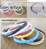 Wholesale Simple Single Rings - colors single wholesale fashion simple Mix & Match multicolor PU leather weave bracelet cord chain women Candy color 100 pcs size 16cm -23cm