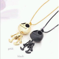 Alloy aliens gold necklace - New Jewelry Halloween gift Fashion Skeleton head alien cool lovers necklace Hot sale