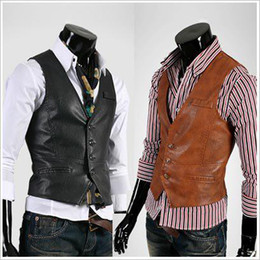 Wholesale Men s Suit Vest Top Slim PU Leather V neck Mens Vest Single breasted