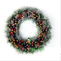 Wholesale 50 cm Christmas anadem Christmas cane ring home decoration pinecone wreath jewelry garland