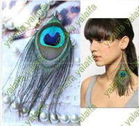 Women's handmade product - Fashion Handmade Peacock Feathers Feather Earrings Eardrop Feather Products