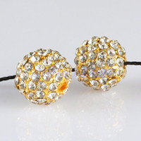 Circle pave beads - 10 mm Plating Gold Metal Spacers White Crystal Beads Rhinestone Pave Ball Jewelry Finding