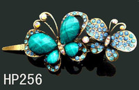 Wholesale Hot Sale vintage hair jewelry zinc alloy rhinestone butterfly hair clip Hair Accessories Mixed colors HP256