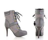 Ankle Boots Rivet Boots Women Wholesale New arrival Hot Sale rivet lace up boots belt buckle stiletto gray Ankle Boots EU35-39