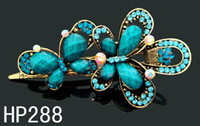 Wholesale hot vintage hair jewelry Zinc alloy rhinestone Butterfly hair clips hair accessories Mixed colors HP369