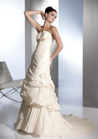 Wholesale Strapless Beaded Satin A Line Chapel Train Claudine Dora Bridal Gown Wedding Dress